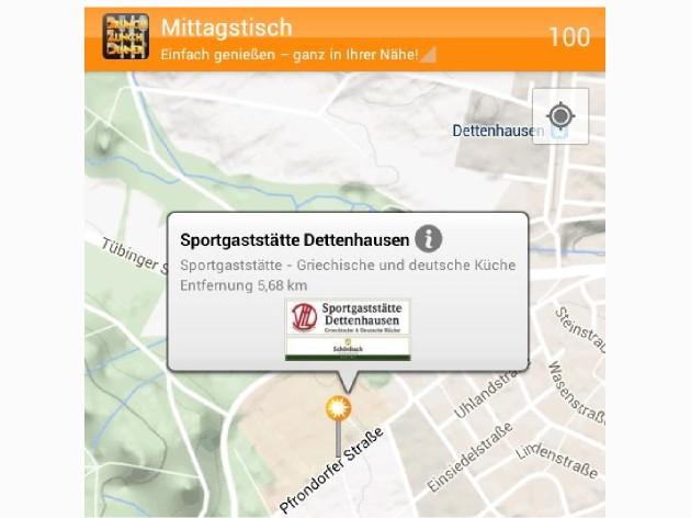 Sportgaststätte Dettenhausen: Wir, in der APP Brunch-Lunch-Dinner/Kartenansicht