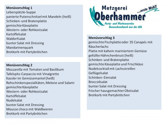 Metzgerei Oberhammer - im Norma Wilhelmstraße: Menüvorschläge für Ihre(n) Party - Feier - Anlass