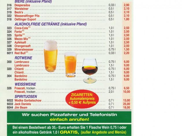 Pizza Zentrum Heimservice: Unsere Speise- und Getränkekarte - 11