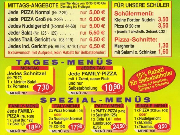 Pizza Zentrum Heimservice: Unsere Speise- und Getränkekarte - 1
