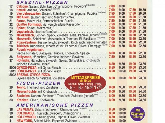 Pizza Zentrum Heimservice: Unsere Speise- und Getränkekarte - 3