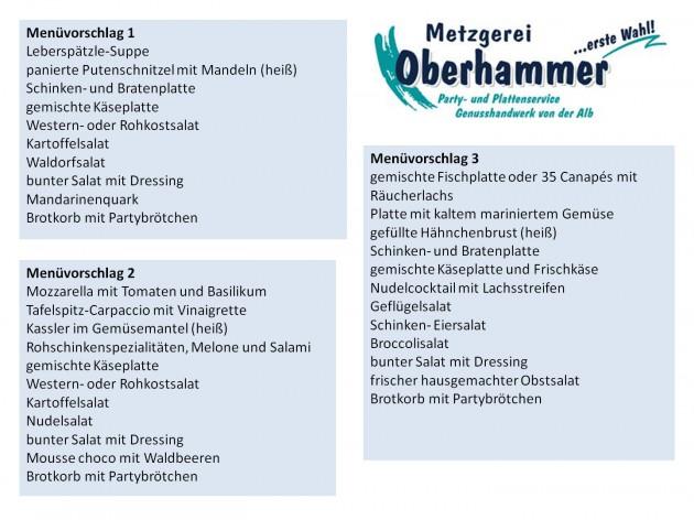 Metzgerei Oberhammer - im Kaufland Göppingen: Menüvorschläge für Ihre(n) Party - Feier - Anlass