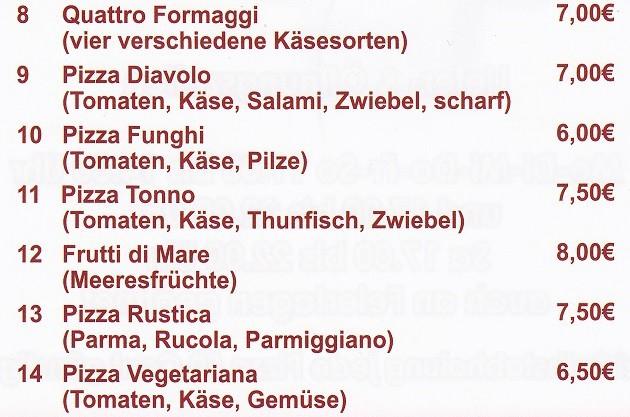 La Rustica - Lieferservice & Gaststätte: Speisekarte Teil 2