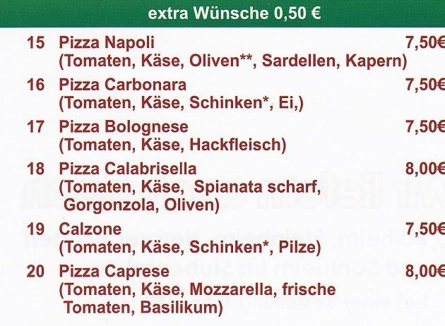 La Rustica - Lieferservice & Gaststätte: Speisekarte Teil 3