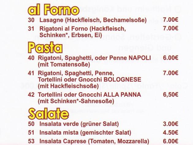 La Rustica - Lieferservice & Gaststätte: Speisekarte Teil 4