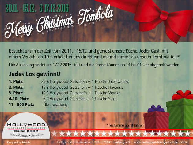 Hollywood: MERRY CHRISTMAS TOMBOLA