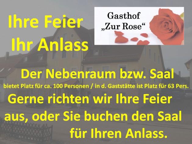 """Gasthof """"Zur Rose"""": Ihre Feier - Ihr Anlass"""