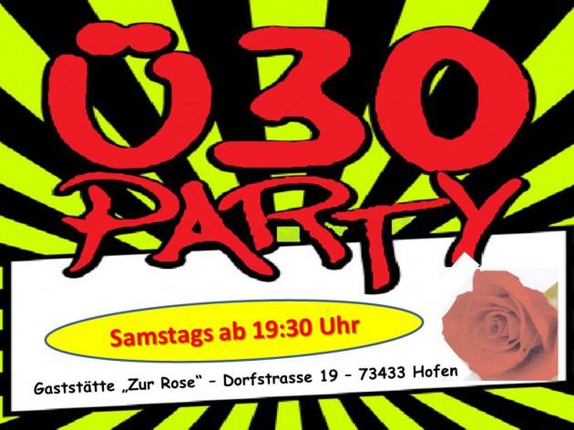 """Gasthof """"Zur Rose"""": Samstags ist ab 19:30 Uhr Ü30 - PARTY"""