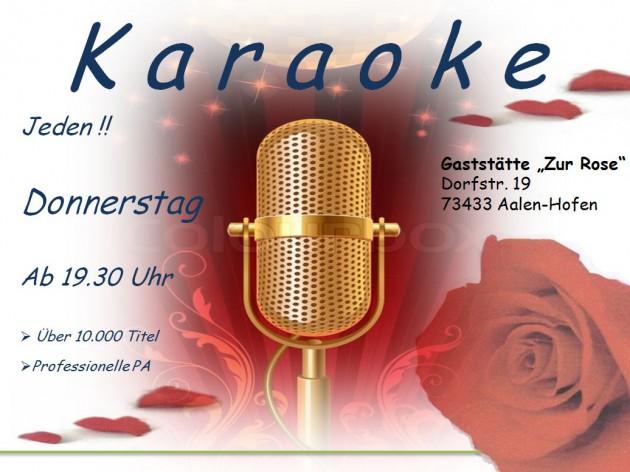 "Gasthof ""Zur Rose"": Donnerstags ist ab 19:30 Uhr K A R A O K E"
