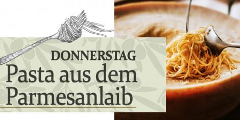 Hausgemachte Pasta im Parmesanlaib