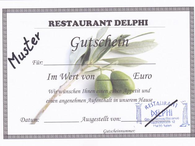 Restaurant Delphi - Aalen: Der Geschenkgutschein