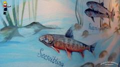 Georg's Fischerhütte, Insel Reichenau bei Konstanz: Bodenseefische-Wandmalerei