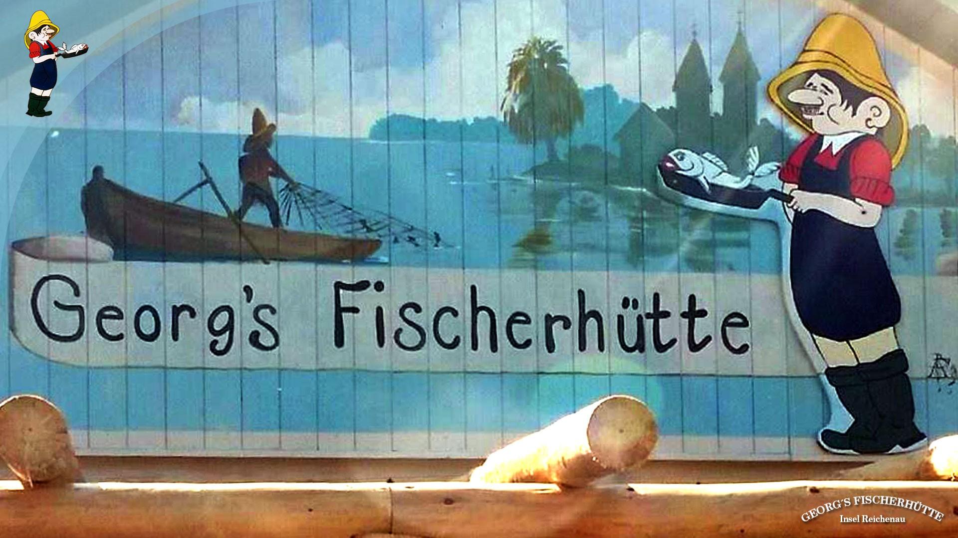Bodensee-Fisch-Restaurant Georg's Fischerhütte Konstanz-Reichenau, bei Sankt Peter und Paul