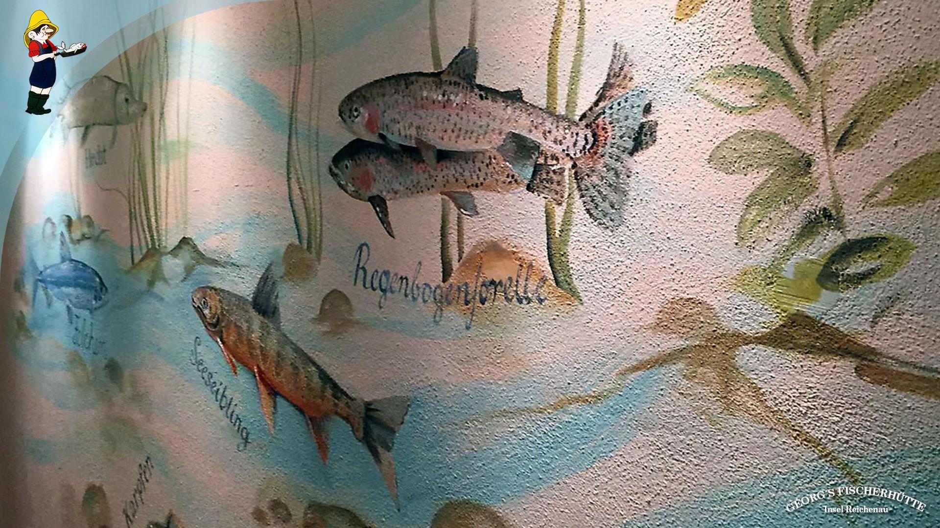 Fisch-Restaurant Georg's Fischerhütte: Bodensee-Fische - Wandmalerei